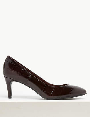 517dc6e25448 M&S CollectionMarks and Spencer Wide Fit Leather Kitten Heel Court Shoe