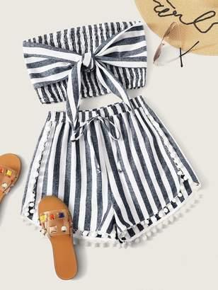 Shein Tie Front Shirred Bandeau Top & Pom Trim Shorts Set