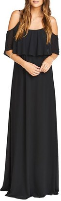 Women's Show Me Your Mumu Caitlin Cold Shoulder Chiffon Gown $172 thestylecure.com