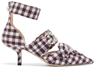 Midnight 00 Crystal Embellished Checked Pumps - Womens - Burgundy White