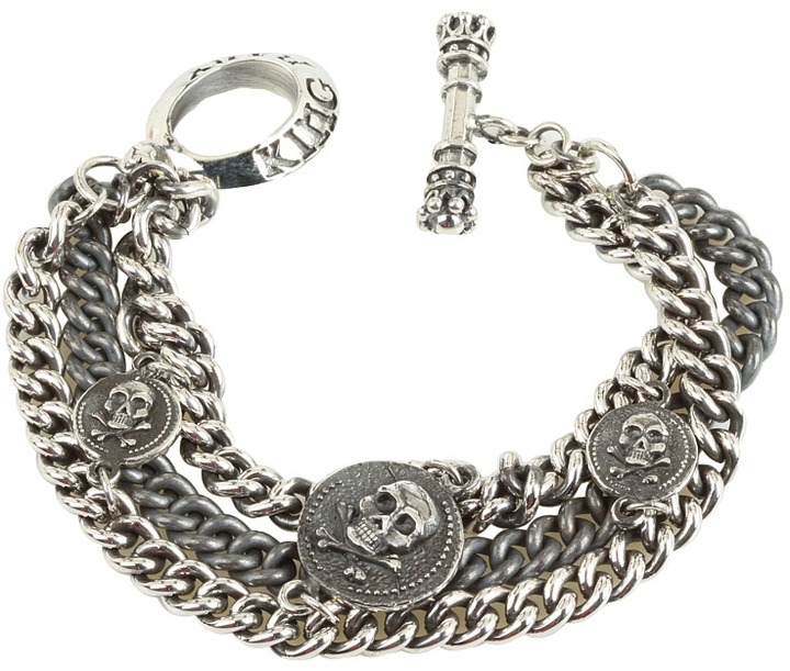 King Baby Studio Three Strand Mixed Chain Bracelet with 3 Skull Vintage Coins (Silver) - Jewelry