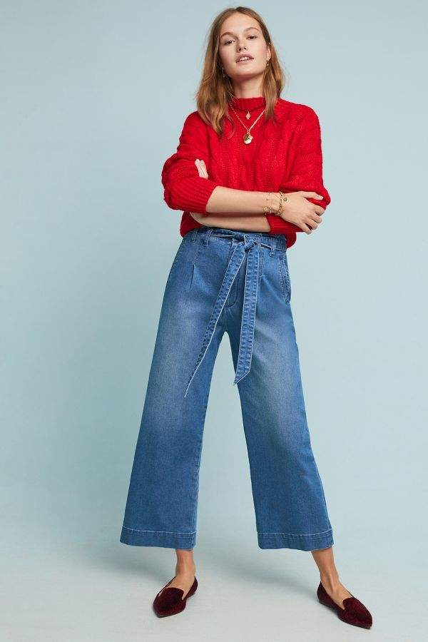 Pilcro and the Letterpress Pilcro Ultra High-Rise Belted Wide-Leg Jeans