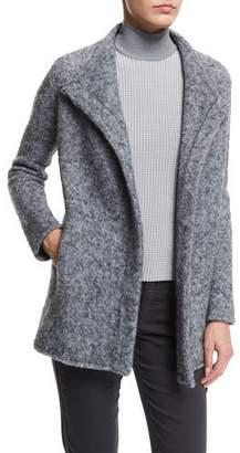 Armani Collezioni Funnel-Neck Asymmetric-Front Jacket, Pearl Gray