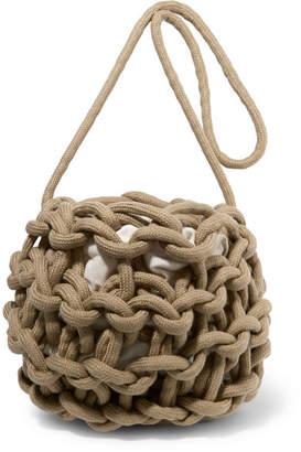 Alienina Nadia Woven Cotton Shoulder Bag - Army green