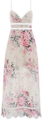 Zimmermann Laelia Diamond Bralette Dress in Meadow Floral