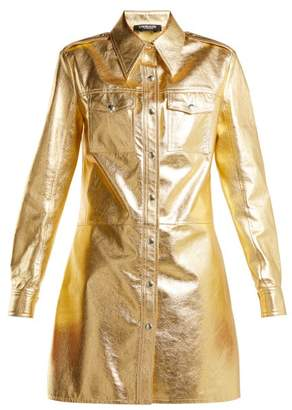 Calvin Klein Point Collar Leather Shirtdress - Womens - Gold