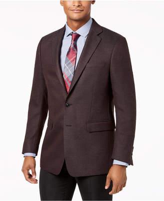 Calvin Klein Men's Slim-Fit Stretch Burgundy Neat Sport Coat