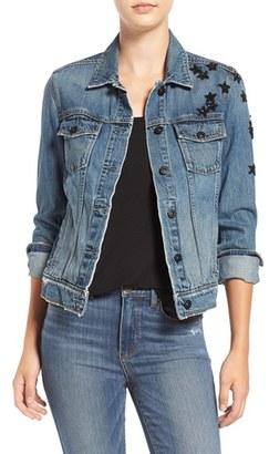 Women's Paige Rowan Sequin Patch Denim Jacket $299 thestylecure.com