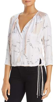 Kenneth Cole Floating Shapes Tripe Tie Blouse
