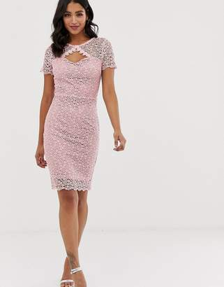 Paper Dolls short sleeve all over crochet lace with scallop hem pencil dress