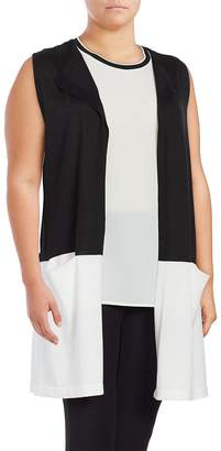 Vince Camuto Women's Colorblocked Sleeveless Duster Vest - Rich Black, Size 2x (18-20)