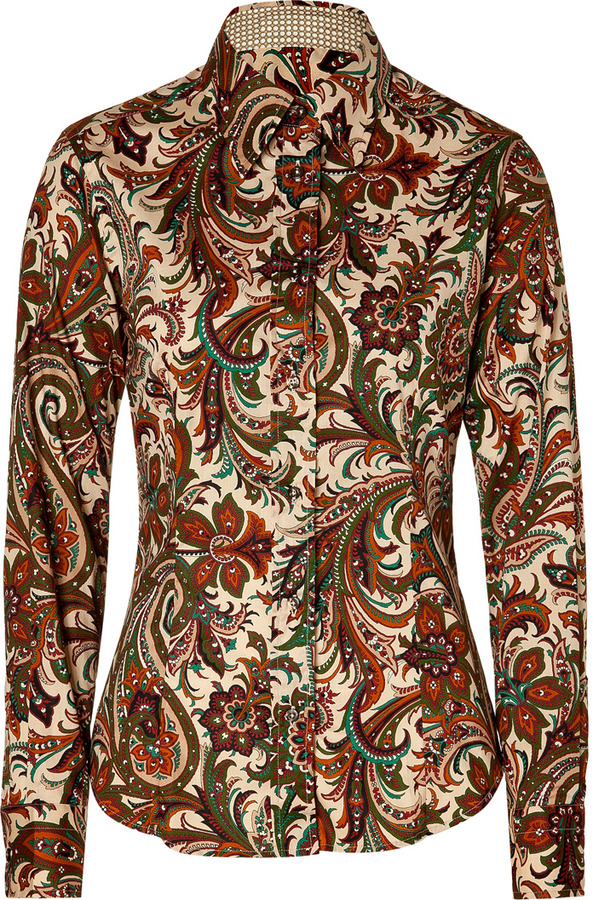 Etro Nude/Fir Green Multicolor Patterned Blouse
