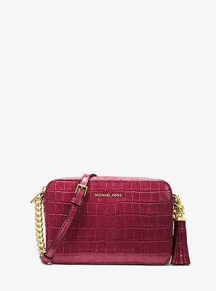Michael Kors Ginny Crocodile-Embossed-Leather Crossbody