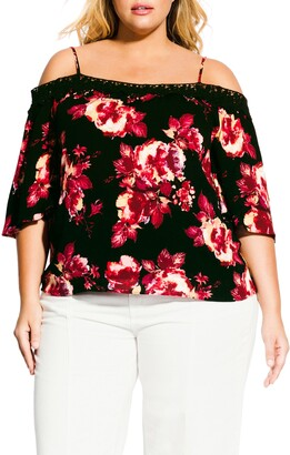 City Chic Monet Black Rose Cold Shoulder Blouse