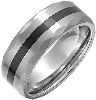 Theia Nickel Free Tungsten & Ceramic - Highly Polished single Striped - 8mm Wedding Ring for Gents - Size Q