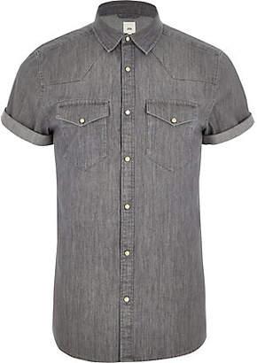 River Island Grey western style slim fit denim shirt