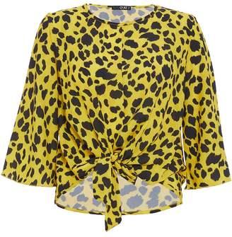 Quiz Yellow & Black Leopard Print Tie Front Top