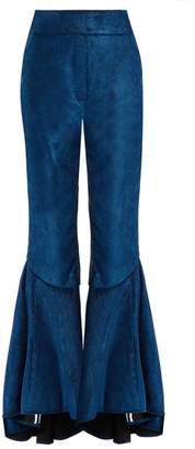 Ellery - Hysteria Ruffled Cuff Cropped Corduroy Trousers - Womens - Blue