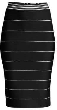 Herve Leger Women's Striped Bandage Pencil Skirt - Black Alabaster - Size Large