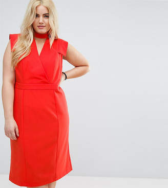 Asos Wrap Front Pencil Midi Dress