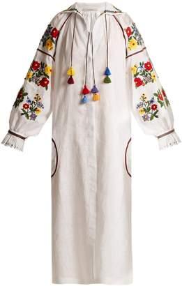 VITA KIN Bouclé embroidered mid-weight linen dress