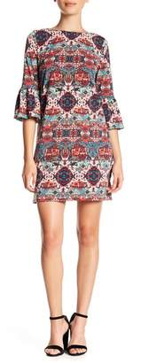 London Times Matte Jersey Bell Sleeve Dress (Petite)