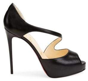 Christian Louboutin Catchy Two 120 Leather Peep Toe Pumps