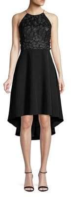 Aidan Mattox Sequin Embroidered Halter High-Low Dress