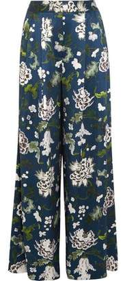 ADAM by Adam Lippes Floral-Print Silk-Charmeuse Wide-Leg Pants