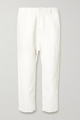 Nili Lotan Luna Cropped Cotton And Linen-blend Twill Pants - White