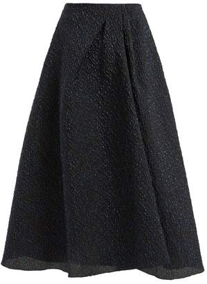 Roland Mouret Mulligan Lurex Jacquard Skirt - Womens - Navy Multi