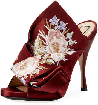No.21 No. 21 Floral-Embroidered Satin Mule Pump