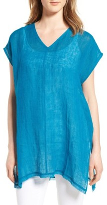 Women's Eileen Fisher Organic Linen Tunic Top $218 thestylecure.com