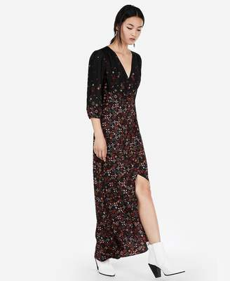 Express Printed Hi-Lo Fit And Flare Maxi Dress