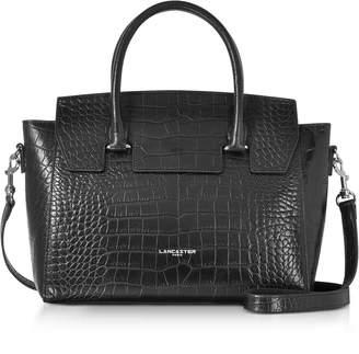 Croco Lancaster Paris Black Embossed Leather Satchel Bag