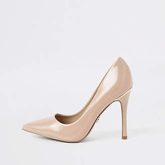 River Island Womens Pink sand patent court shoes