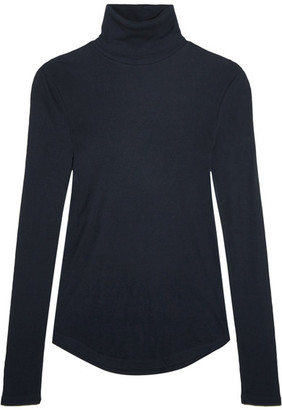 J.Crew - Tencel And Cashmere-blend Turtleneck Sweater - Navy $100 thestylecure.com