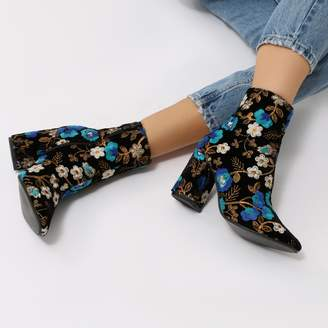 Public Desire Cleo Embroidered Floral Ankle Boots Velvet