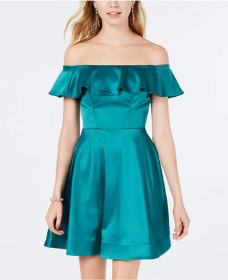 Sequin Hearts Juniors' Ruffled Off-The-Shoulder Fit & Flare Dress