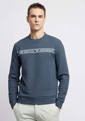 Emporio Armani Crew-Neck Sweater In Ottoman With Logo