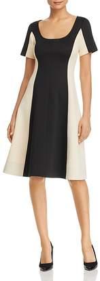 Donna Karan Color-Block Flared Scuba Dress