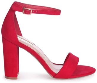 Linzi Nelly Red Suede Single Sole Block Heels