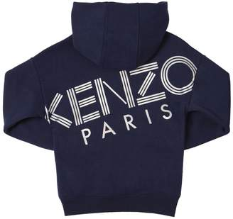 Kenzo Logo Zip-Up Cotton Sweatshirt Hoodie