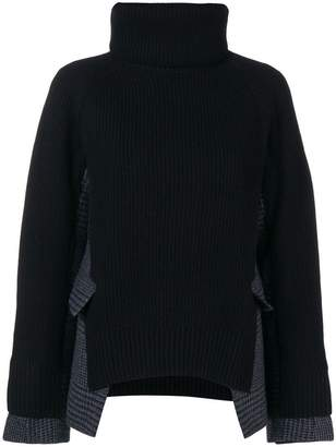 Sacai funnel neck hybrid jumper