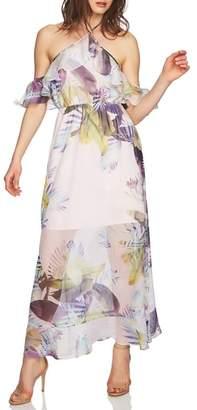 CeCe Danielle Tropical Print Cold Shoulder Maxi Dress