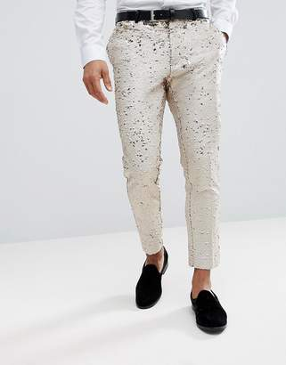Asos Design DESIGN wedding skinny crop smart pants in cream reversible sequins