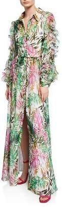 Badgley Mischka Leaf Print Button-Front Ruffle-Sleeve Maxi Shirtdress