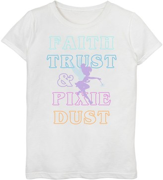 "Disney Disney's Peter Pan Girls 7-16 Tinker Bell ""Faith Trust & Pixie Dust"" Outline Graphic Tee"