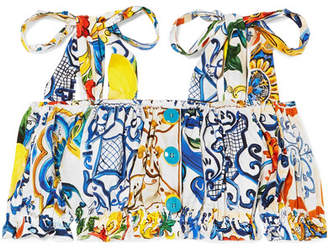 Dolce & Gabbana Cropped Cold-shoulder Printed Cotton Top - Blue