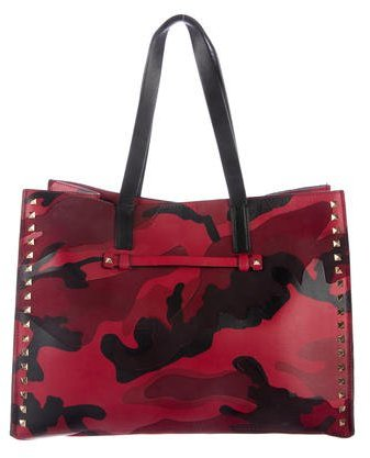 Valentino 2015 Psychedelic Camouflage Rockstud Tote